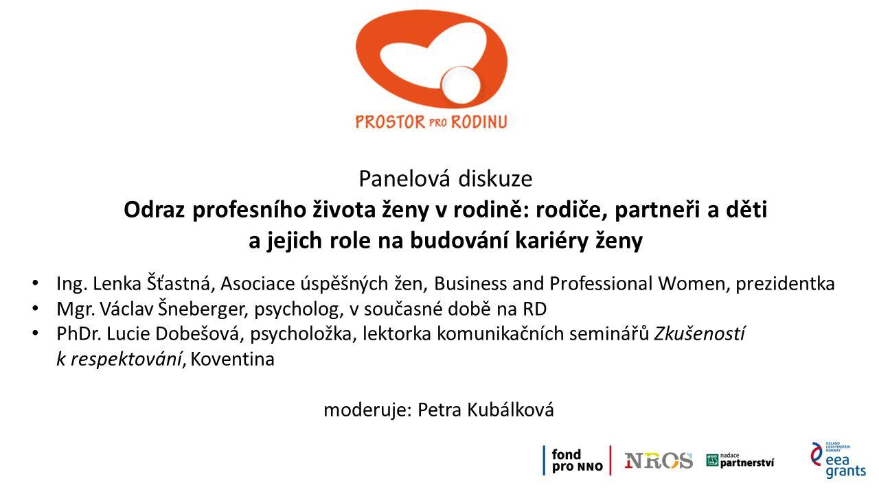 Panelová diskuze Odraz profesního života ženy v rodině: rodiče, partneři a děti a jejich role na budování kariéry ženy Ing.