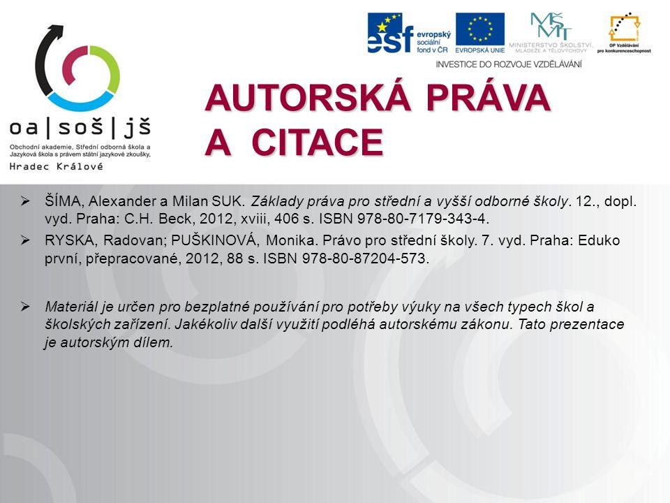 AUTORSKÁ PRÁVA A CITACE  ŠÍMA, Alexander a Milan SUK.