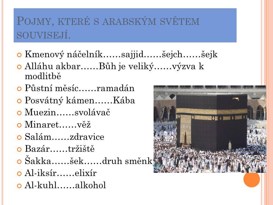 P OJMY, KTERÉ S ARABSKÝM SVĚTEM SOUVISEJÍ.