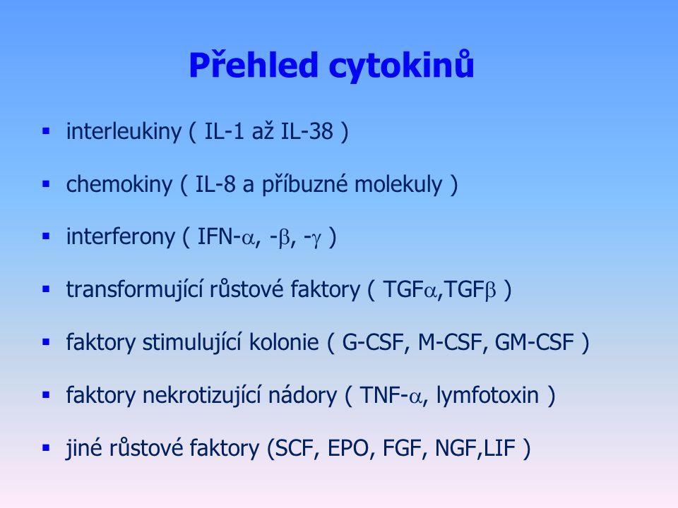 Přehled cytokinů  interleukiny ( IL-1 až IL-38 )  chemokiny ( IL-8 a příbuzné molekuly )  interferony ( IFN- , - , -  )  transformující růstové faktory ( TGF ,TGF  )  faktory stimulující kolonie ( G-CSF, M-CSF, GM-CSF )  faktory nekrotizující nádory ( TNF- , lymfotoxin )  jiné růstové faktory (SCF, EPO, FGF, NGF,LIF )