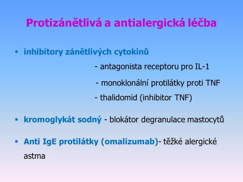  inhibitory zánětlivých cytokinů - antagonista receptoru pro IL-1 - monoklonální protilátky proti TNF - thalidomid (inhibitor TNF)  kromoglykát sodný - blokátor degranulace mastocytů  Anti IgE protilátky (omalizumab)- těžké alergické astma Protizánětlivá a antialergická léčba