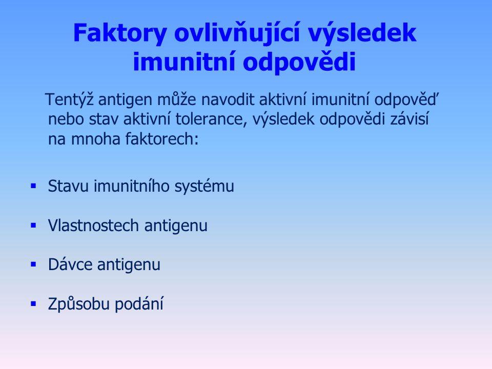 Faktory ovlivňující výsledek imunitní odpovědi Tentýž antigen může navodit aktivní imunitní odpověď nebo stav aktivní tolerance, výsledek odpovědi závisí na mnoha faktorech:  Stavu imunitního systému  Vlastnostech antigenu  Dávce antigenu  Způsobu podání