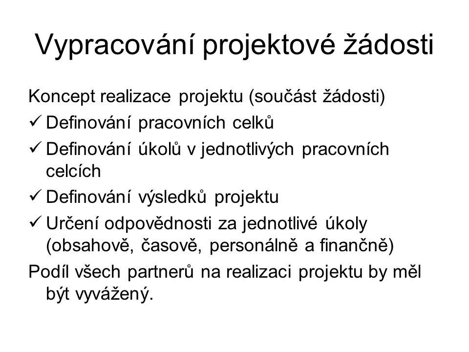 Vypracování projektové žádosti Koncept realizace projektu (součást žádosti) Definování pracovních celků Definování úkolů v jednotlivých pracovních cel