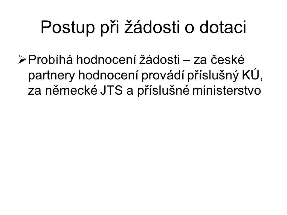 Postup při žádosti o dotaci  Probíhá hodnocení žádosti – za české partnery hodnocení provádí příslušný KÚ, za německé JTS a příslušné ministerstvo