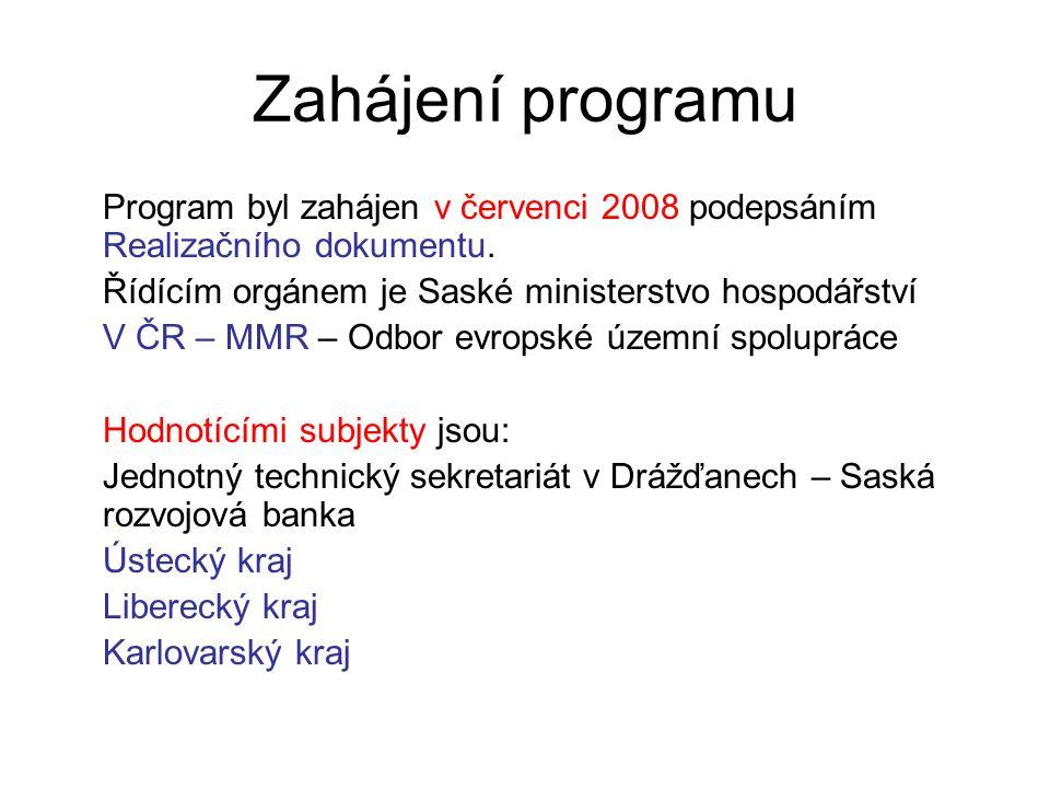 Zahájení programu Program byl zahájen v červenci 2008 podepsáním Realizačního dokumentu. Řídícím orgánem je Saské ministerstvo hospodářství V ČR – MMR