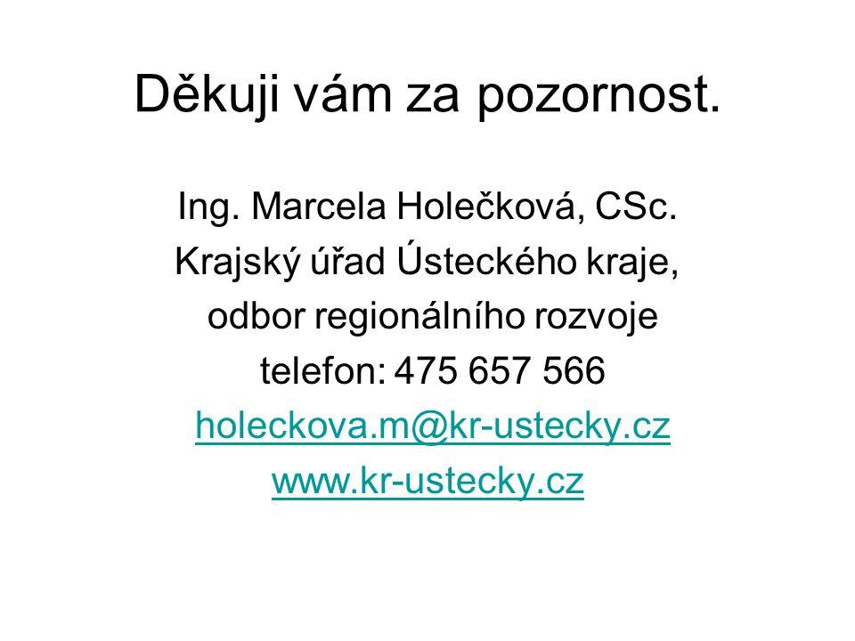 Děkuji vám za pozornost. Ing. Marcela Holečková, CSc. Krajský úřad Ústeckého kraje, odbor regionálního rozvoje telefon: 475 657 566 holeckova.m@kr-ust