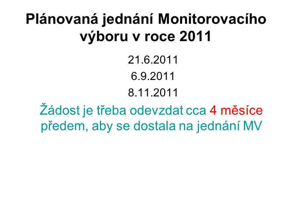 Plánovaná jednání Monitorovacího výboru v roce 2011 21.6.2011 6.9.2011 8.11.2011 Žádost je třeba odevzdat cca 4 měsíce předem, aby se dostala na jednání MV