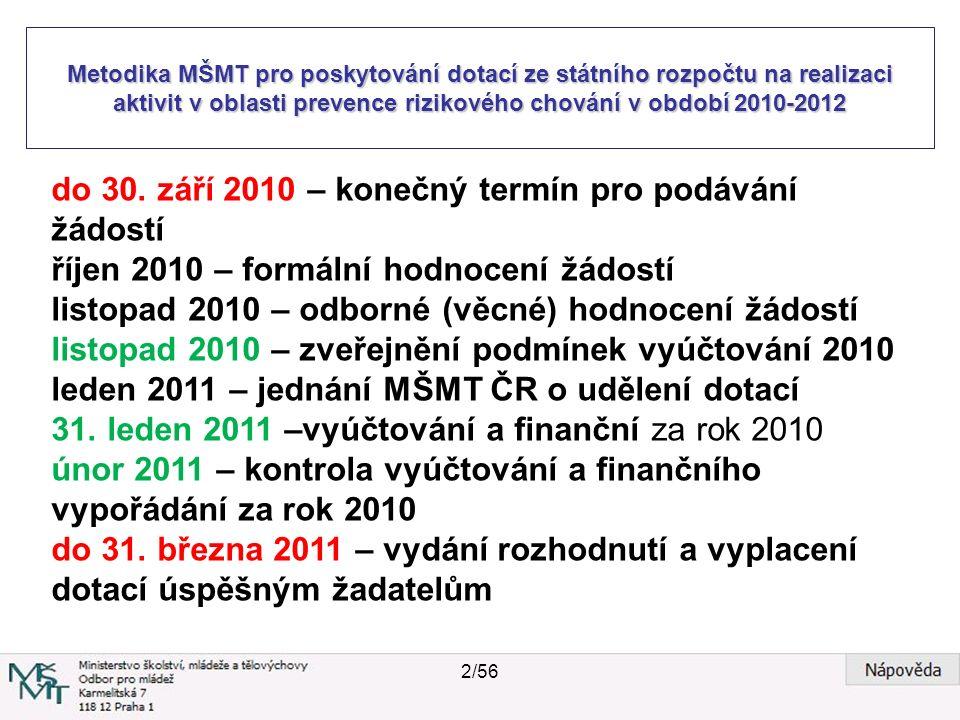 Metodika MŠMT pro poskytování dotací ze státního rozpočtu na realizaci aktivit v oblasti prevence rizikového chování v období 2010-2012 do 30. září 20