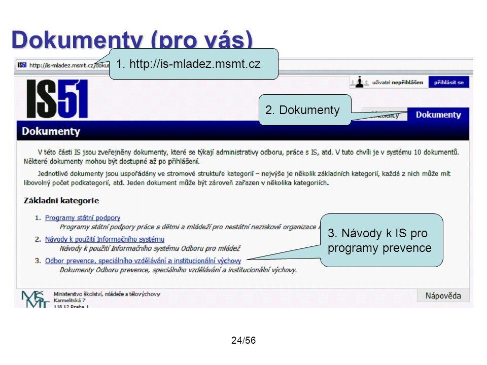 Dokumenty (pro vás) 1. http://is-mladez.msmt.cz 2. Dokumenty 3. Návody k IS pro programy prevence 24/56