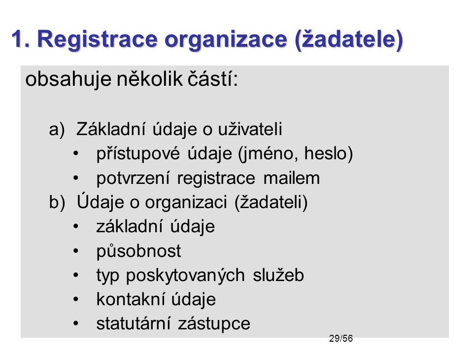 1. Registrace organizace (žadatele) obsahuje několik částí: a)Základní údaje o uživateli přístupové údaje (jméno, heslo) potvrzení registrace mailem b