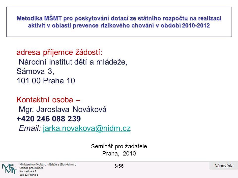 Metodika MŠMT pro poskytování dotací ze státního rozpočtu na realizaci aktivit v oblasti prevence rizikového chování v období 2010-2012 Seminář pro žadatele Praha, 2010 Podmínkou podávání nových projektů (tedy projektů, které nebyly podány do dotačního řízení MŠMT ČR předchozího roku), je jejich předjednání na odboru 28 MŠMT ČR vyjma nových projektů škol a školských zařízení.