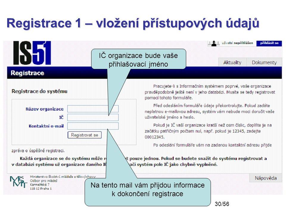 Registrace 1 – vložení přístupových údajů Na tento mail vám přijdou informace k dokončení registrace IČ organizace bude vaše přihlašovací jméno 30/56