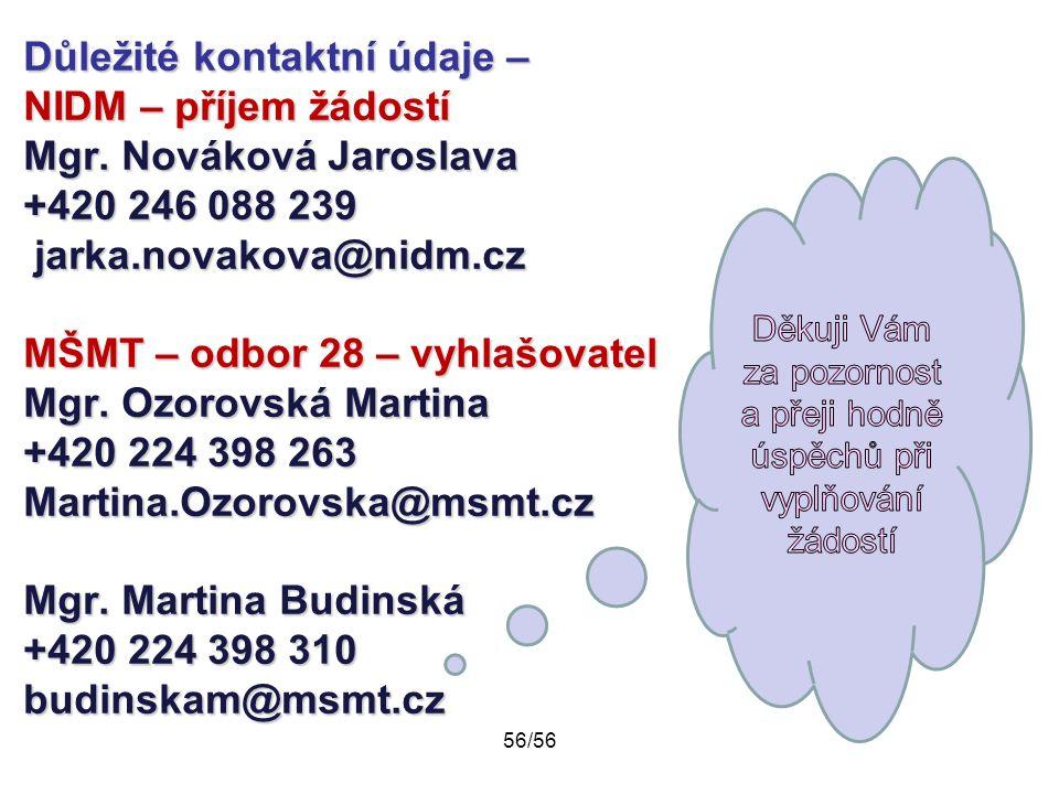 Důležité kontaktní údaje – NIDM – příjem žádostí Mgr. Nováková Jaroslava +420 246 088 239 jarka.novakova@nidm.cz MŠMT – odbor 28 – vyhlašovatel Mgr. O