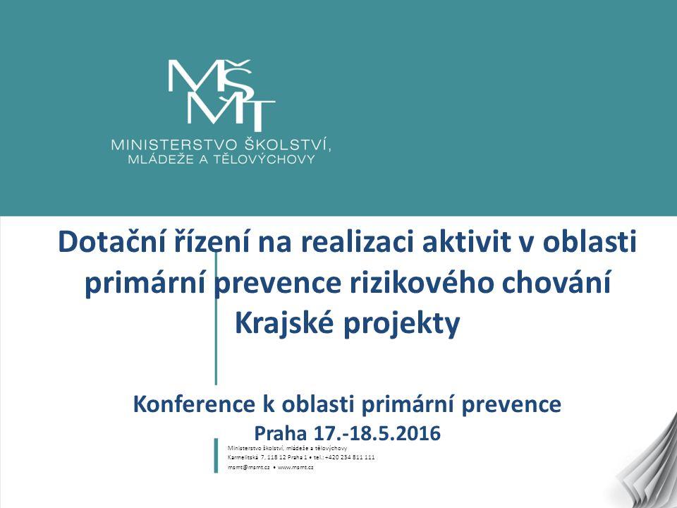 1 Dotační řízení na realizaci aktivit v oblasti primární prevence rizikového chování Krajské projekty Konference k oblasti primární prevence Praha 17.