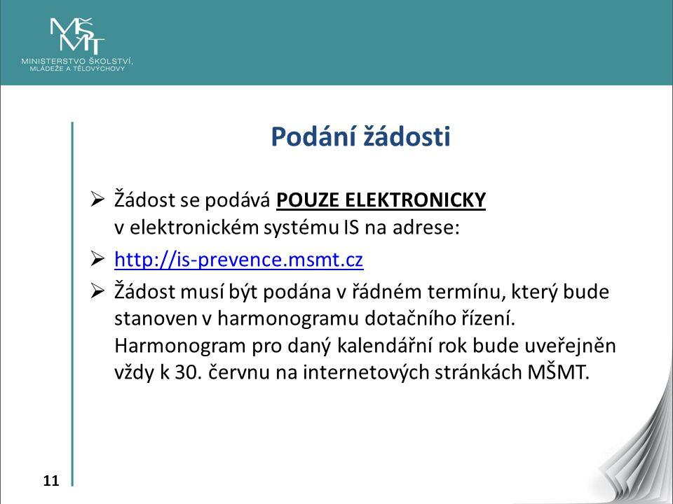 11 Podání žádosti  Žádost se podává POUZE ELEKTRONICKY v elektronickém systému IS na adrese:  http://is-prevence.msmt.cz http://is-prevence.msmt.cz