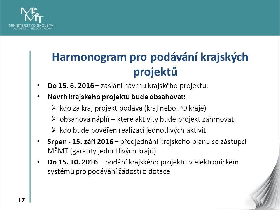 17 Harmonogram pro podávání krajských projektů Do 15. 6. 2016 – zaslání návrhu krajského projektu. Návrh krajského projektu bude obsahovat:  kdo za k