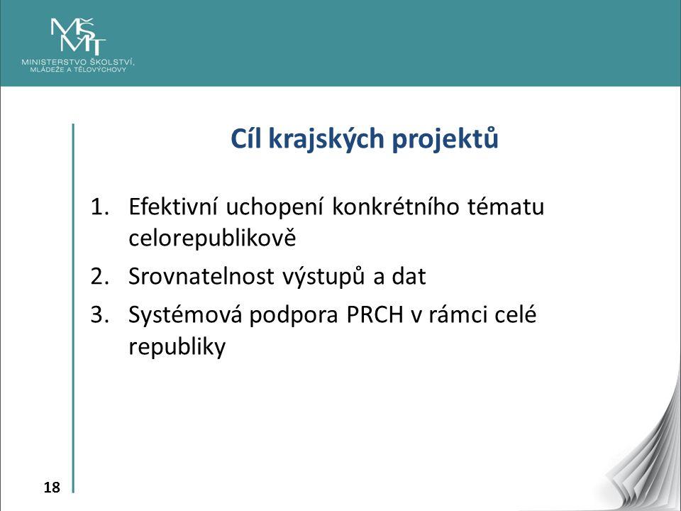 18 Cíl krajských projektů 1.Efektivní uchopení konkrétního tématu celorepublikově 2.Srovnatelnost výstupů a dat 3.Systémová podpora PRCH v rámci celé