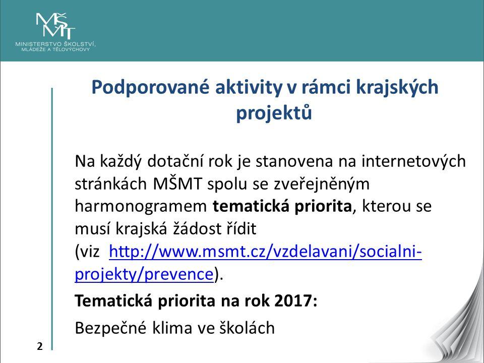 2 Podporované aktivity v rámci krajských projektů Na každý dotační rok je stanovena na internetových stránkách MŠMT spolu se zveřejněným harmonogramem tematická priorita, kterou se musí krajská žádost řídit (viz http://www.msmt.cz/vzdelavani/socialni- projekty/prevence).http://www.msmt.cz/vzdelavani/socialni- projekty/prevence Tematická priorita na rok 2017: Bezpečné klima ve školách