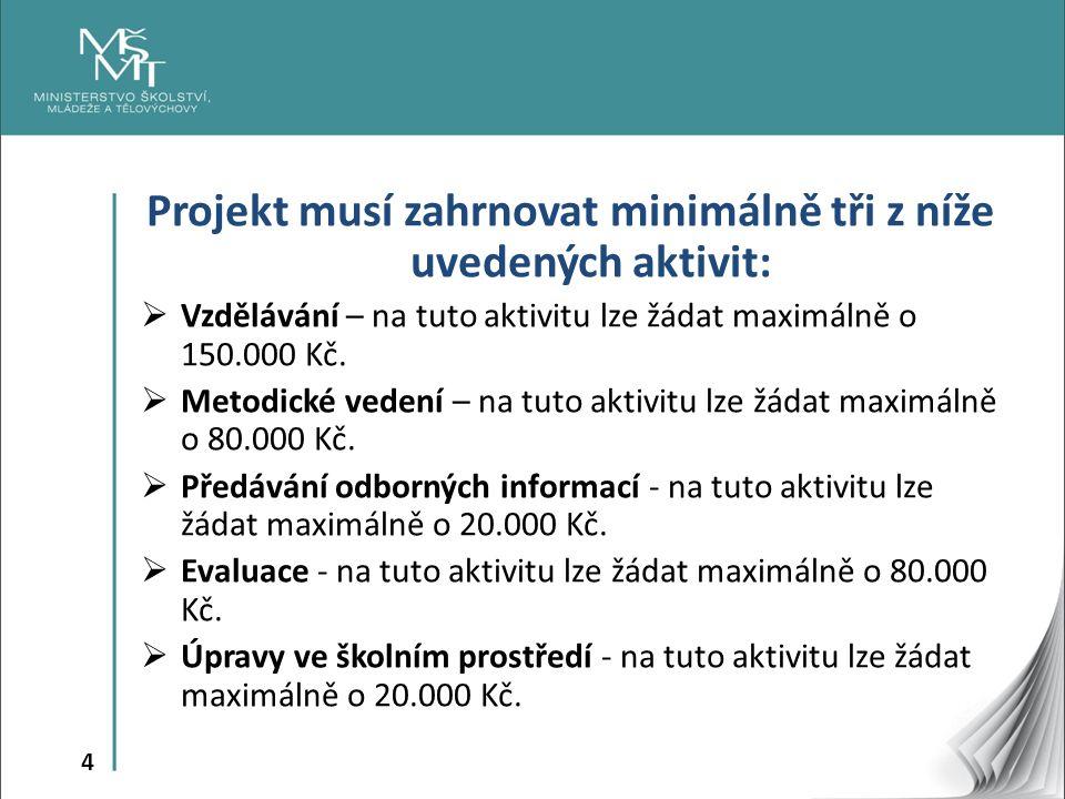 4 Projekt musí zahrnovat minimálně tři z níže uvedených aktivit:  Vzdělávání – na tuto aktivitu lze žádat maximálně o 150.000 Kč.  Metodické vedení