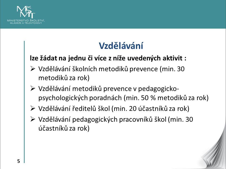 5 Vzdělávání lze žádat na jednu či více z níže uvedených aktivit :  Vzdělávání školních metodiků prevence (min.