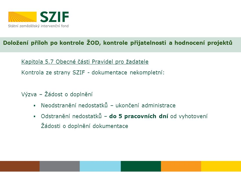 Kapitola 5.7 Obecné části Pravidel pro žadatele Kontrola ze strany SZIF - dokumentace nekompletní: Výzva – Žádost o doplnění  Neodstranění nedostatků – ukončení administrace  Odstranění nedostatků – do 5 pracovních dní od vyhotovení Žádosti o doplnění dokumentace Doložení příloh po kontrole ŽOD, kontrole přijatelnosti a hodnocení projektů
