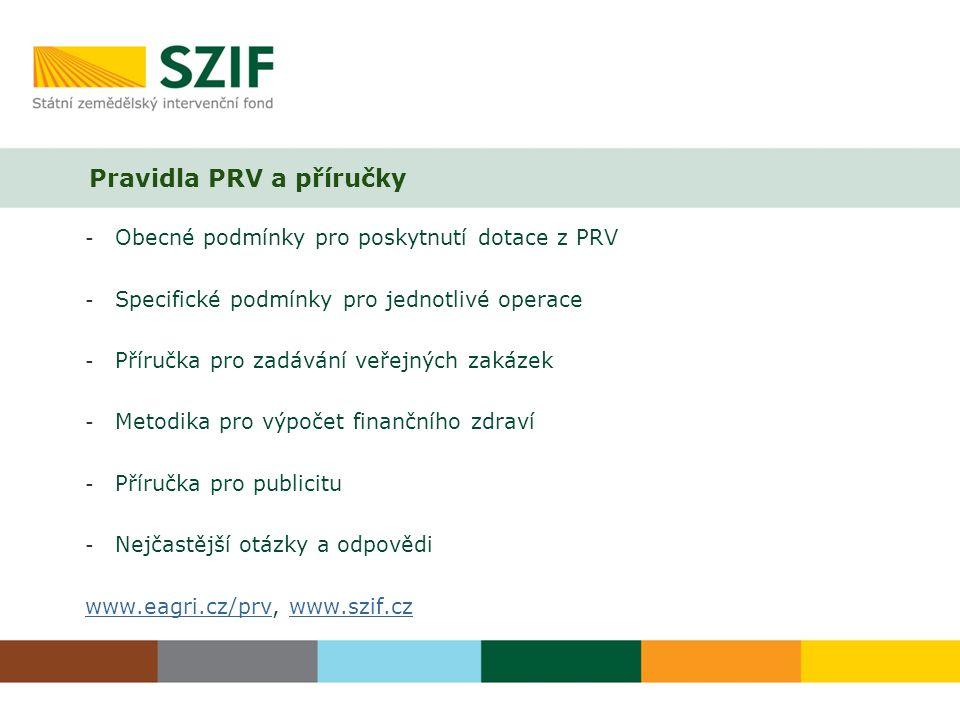Pravidla PRV a příručky - Obecné podmínky pro poskytnutí dotace z PRV - Specifické podmínky pro jednotlivé operace - Příručka pro zadávání veřejných zakázek - Metodika pro výpočet finančního zdraví - Příručka pro publicitu - Nejčastější otázky a odpovědi www.eagri.cz/prvwww.eagri.cz/prv, www.szif.czwww.szif.cz