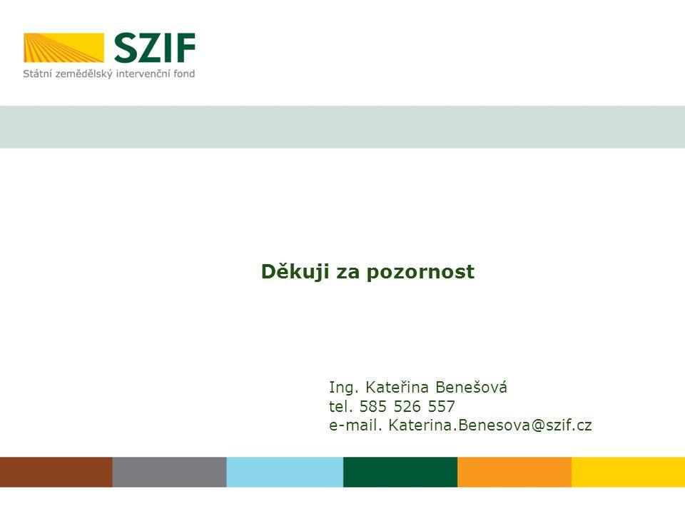 Děkuji za pozornost Ing. Kateřina Benešová tel. 585 526 557 e-mail. Katerina.Benesova@szif.cz