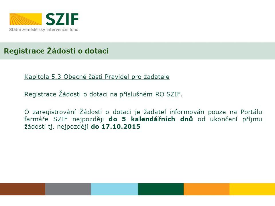 Registrace Žádosti o dotaci Kapitola 5.3 Obecné části Pravidel pro žadatele Registrace Žádosti o dotaci na příslušném RO SZIF.