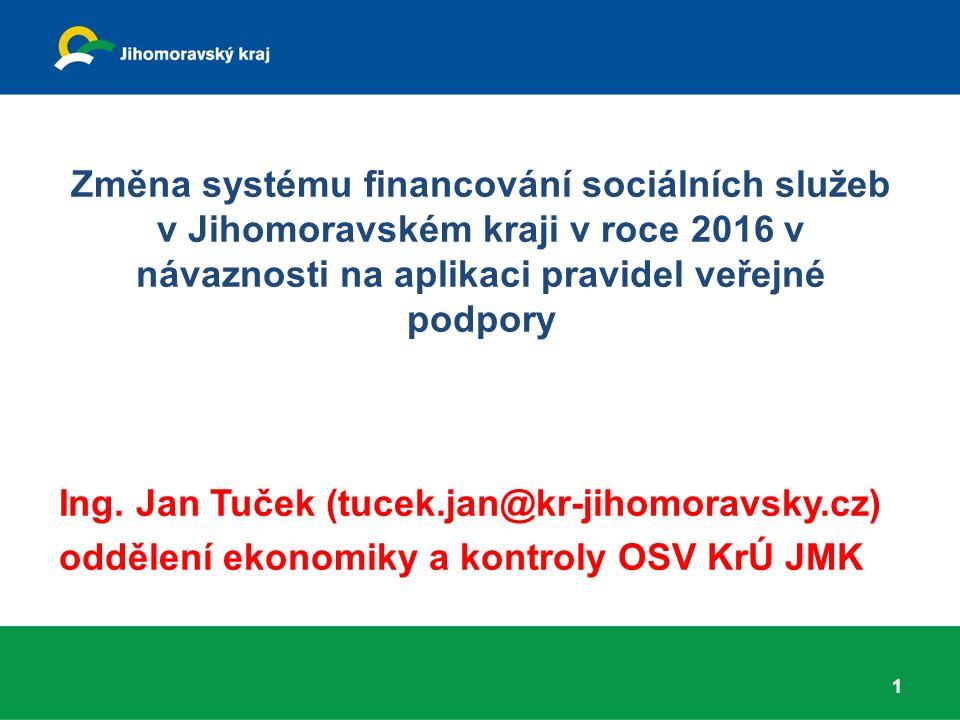 Změna systému financování sociálních služeb v Jihomoravském kraji v roce 2016 v návaznosti na aplikaci pravidel veřejné podpory Ing. Jan Tuček (tucek.