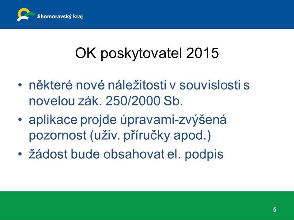OK poskytovatel 2015 některé nové náležitosti v souvislosti s novelou zák. 250/2000 Sb. aplikace projde úpravami-zvýšená pozornost (uživ. příručky apo