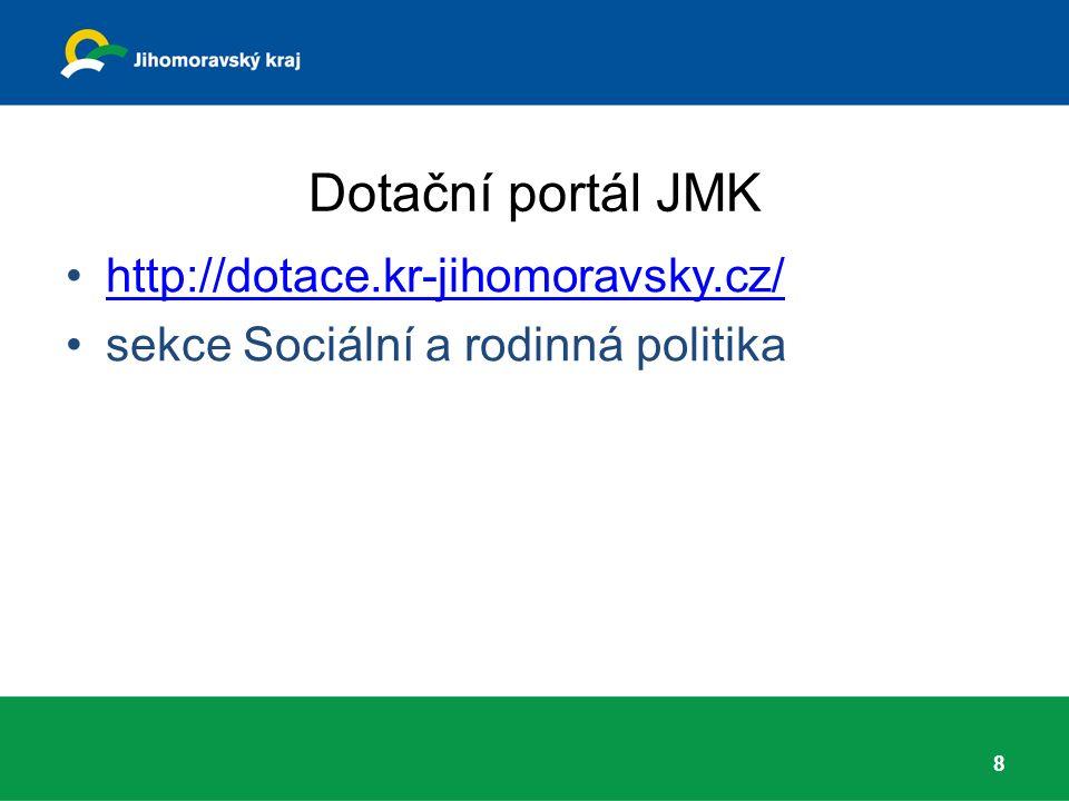 Dotační portál JMK http://dotace.kr-jihomoravsky.cz/ sekce Sociální a rodinná politika 8