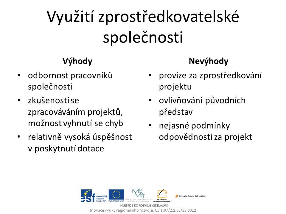 Využití zprostředkovatelské společnosti Výhody odbornost pracovníků společnosti zkušenosti se zpracováváním projektů, možnost vyhnutí se chyb relativně vysoká úspěšnost v poskytnutí dotace Nevýhody provize za zprostředkování projektu ovlivňování původních představ nejasné podmínky odpovědnosti za projekt Inovace výuky regionálního rozvoje, CZ.1.07/2.2.00/28.0012