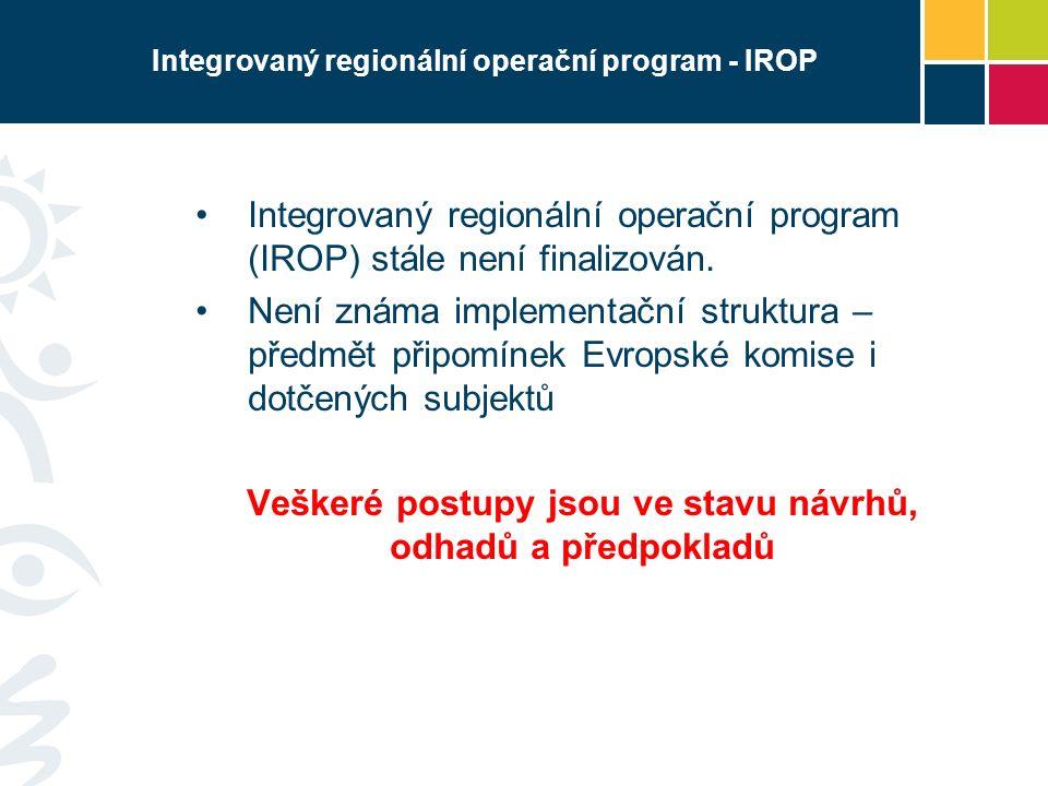 Integrovaný regionální operační program - IROP Integrovaný regionální operační program (IROP) stále není finalizován. Není známa implementační struktu
