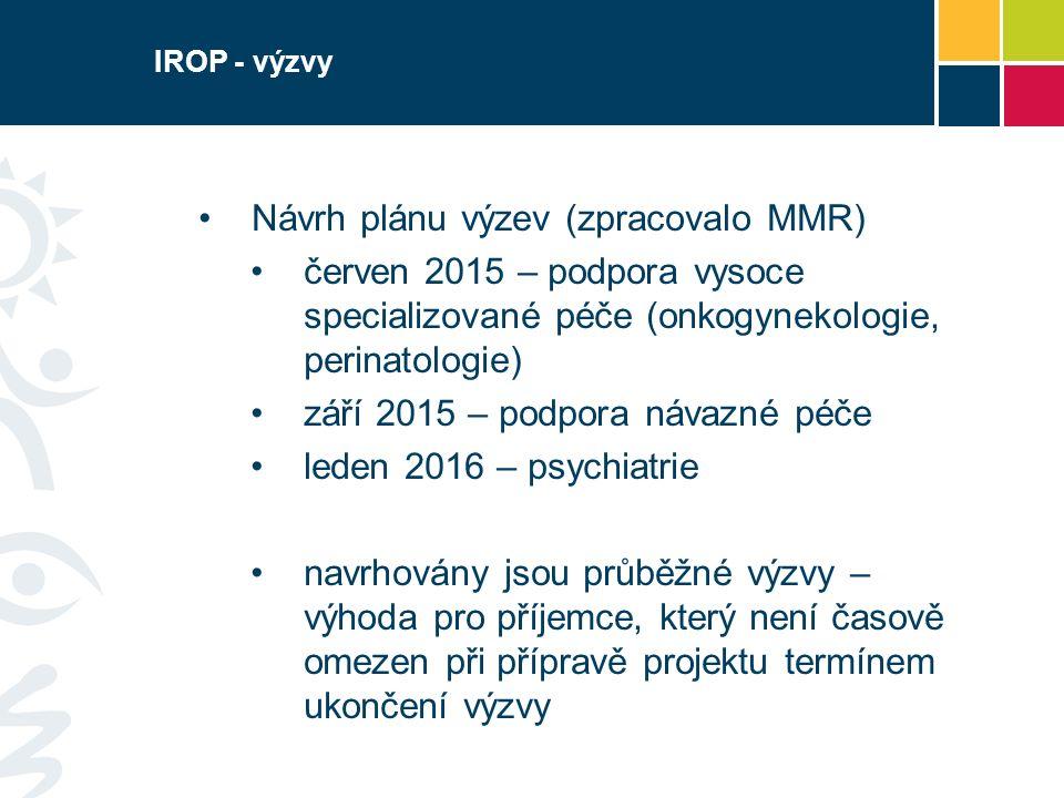 IROP - výzvy Návrh plánu výzev (zpracovalo MMR) červen 2015 – podpora vysoce specializované péče (onkogynekologie, perinatologie) září 2015 – podpora