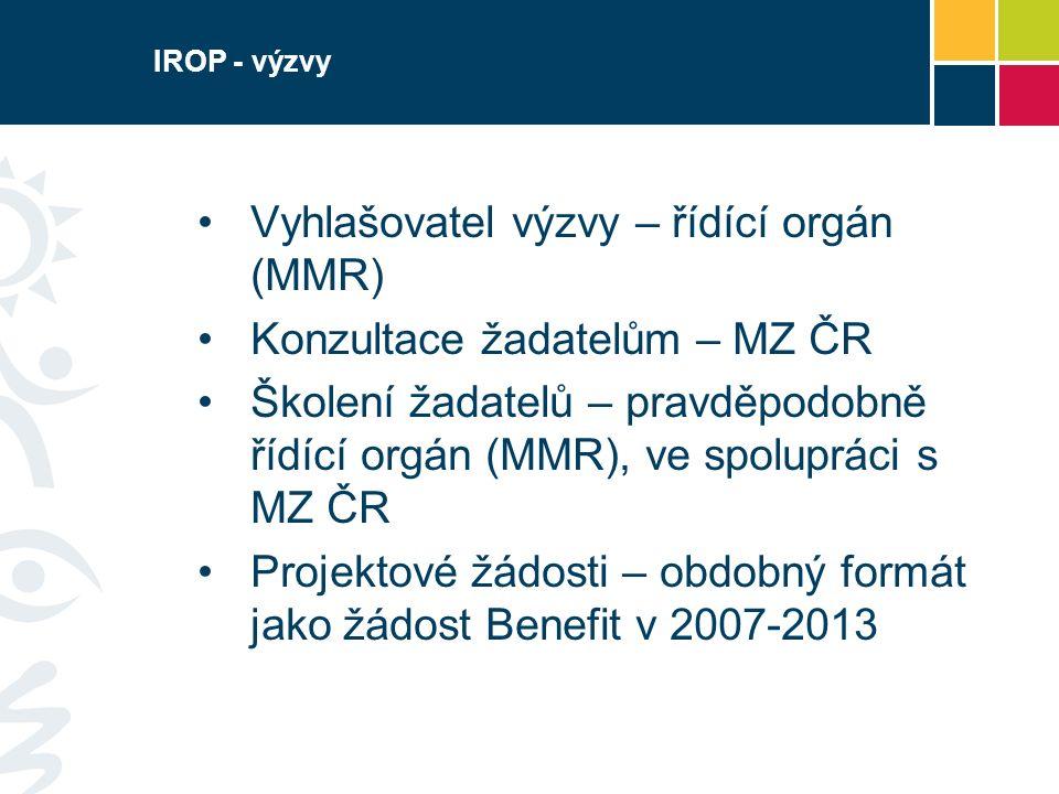 IROP - výzvy Vyhlašovatel výzvy – řídící orgán (MMR) Konzultace žadatelům – MZ ČR Školení žadatelů – pravděpodobně řídící orgán (MMR), ve spolupráci s