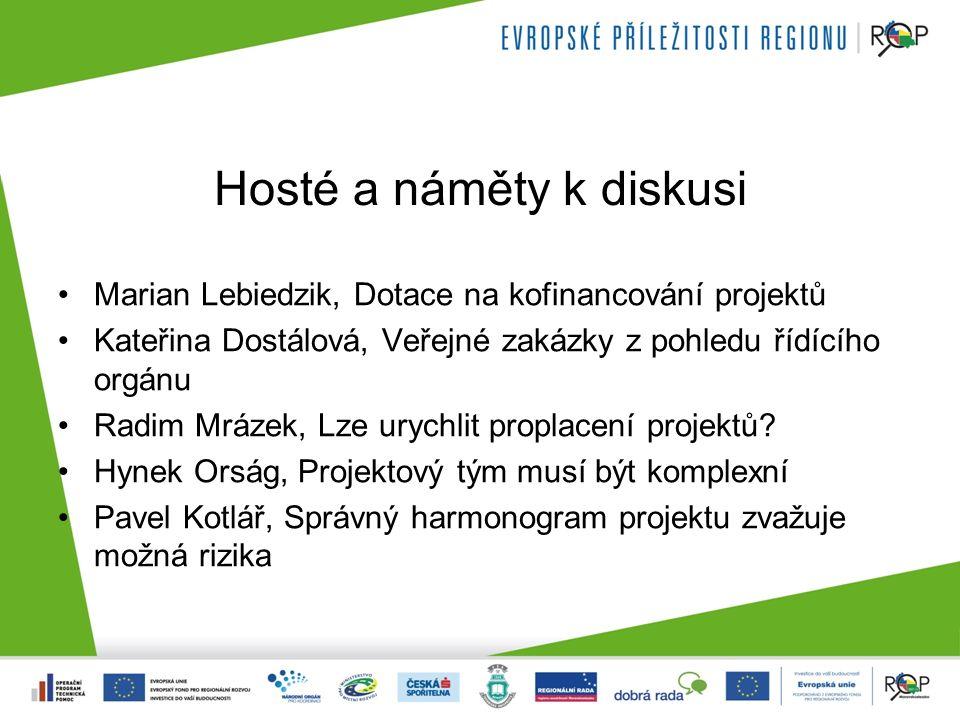 Hosté a náměty k diskusi Marian Lebiedzik, Dotace na kofinancování projektů Kateřina Dostálová, Veřejné zakázky z pohledu řídícího orgánu Radim Mrázek, Lze urychlit proplacení projektů.