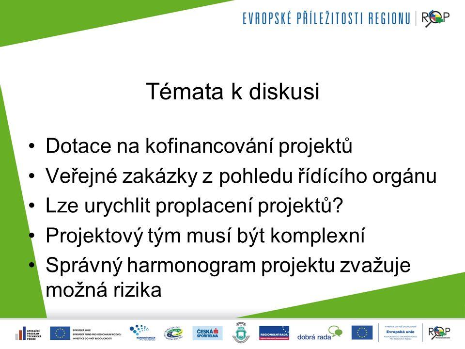 Témata k diskusi Dotace na kofinancování projektů Veřejné zakázky z pohledu řídícího orgánu Lze urychlit proplacení projektů.