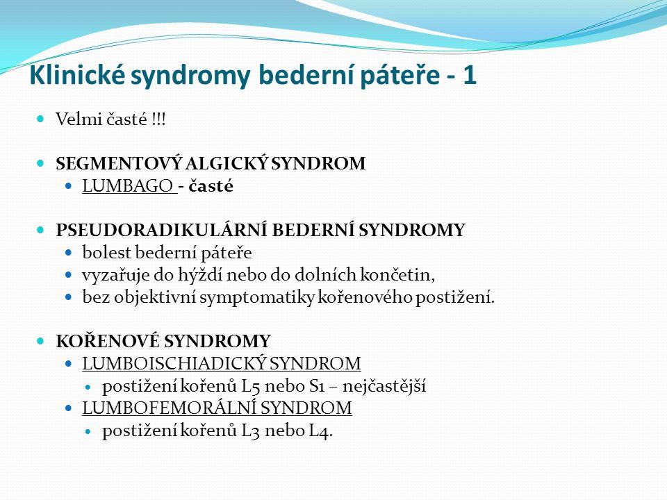 Klinické syndromy bederní páteře - 1 Velmi časté !!! SEGMENTOVÝ ALGICKÝ SYNDROM LUMBAGO - časté PSEUDORADIKULÁRNÍ BEDERNÍ SYNDROMY bolest bederní páte