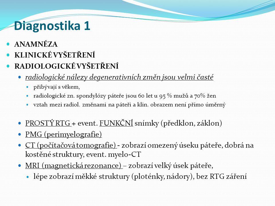 Diagnostika 1 ANAMNÉZA KLINICKÉ VYŠETŘENÍ RADIOLOGICKÉ VYŠETŘENÍ radiologické nálezy degenerativních změn jsou velmi časté přibývají s věkem, radiolog