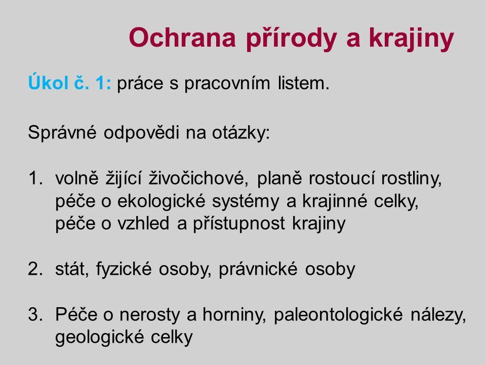 Ochrana přírody a krajiny Úkol č.2: z následující webové stránky vypiš názvy NP a CHKO v ČR.
