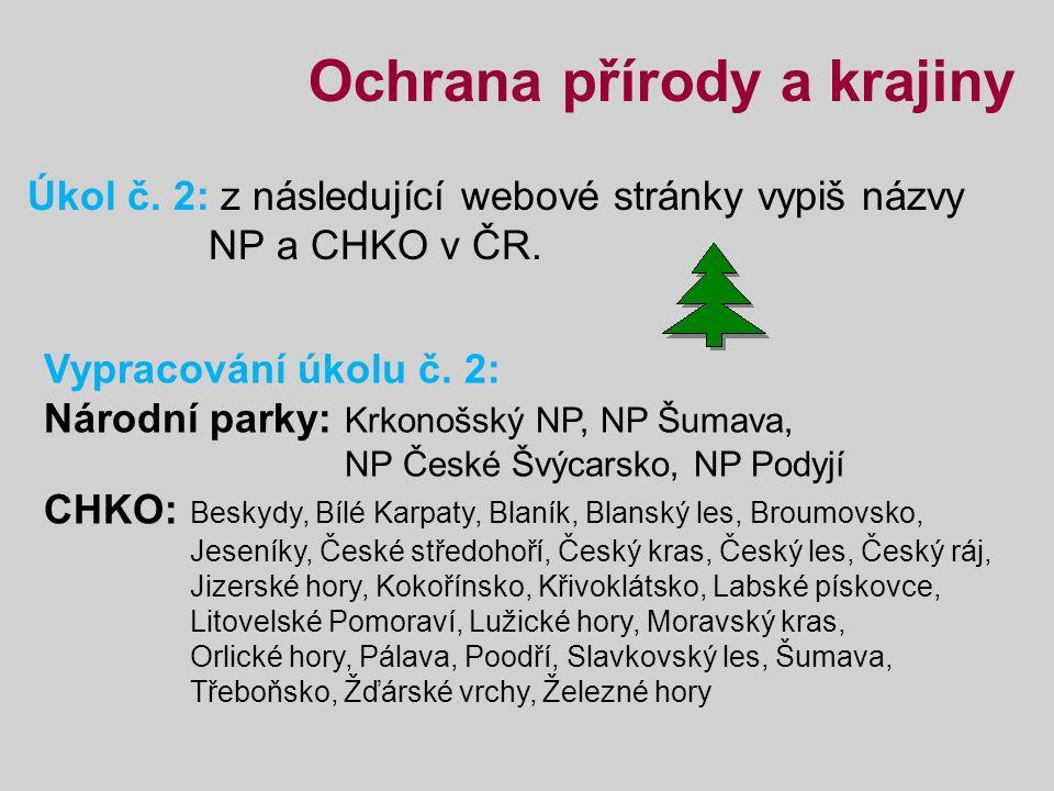 Ochrana přírody a krajiny Úkol č. 2: z následující webové stránky vypiš názvy NP a CHKO v ČR.