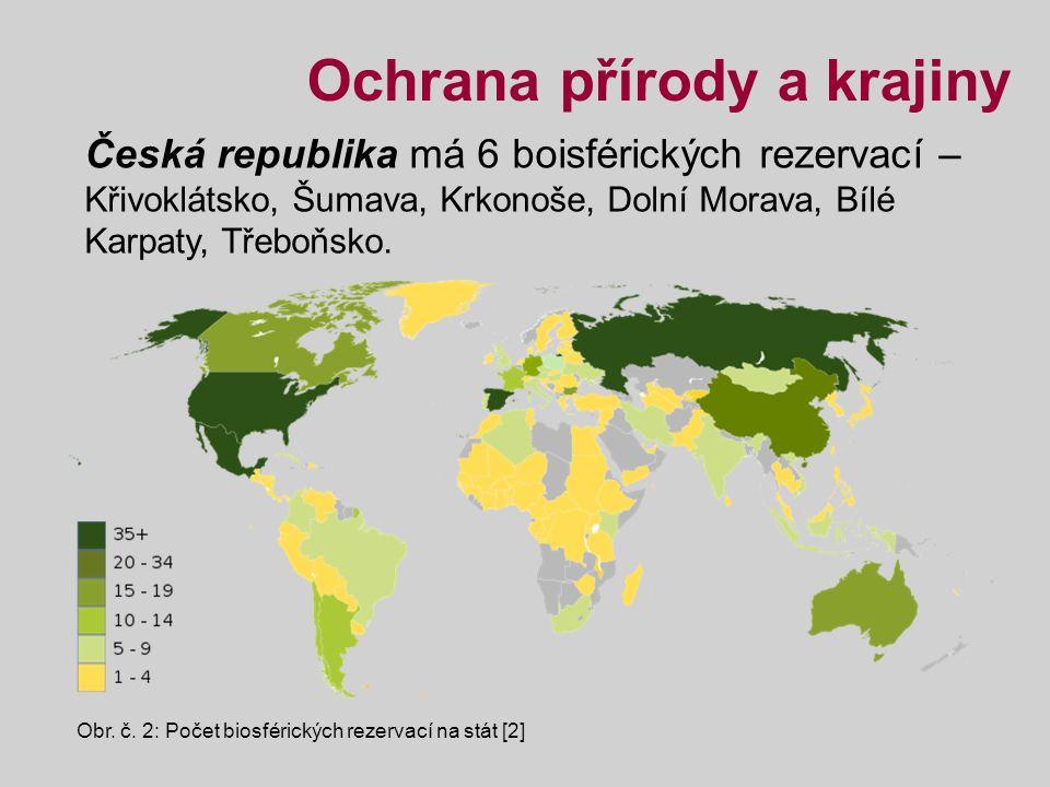 Česká republika má 6 boisférických rezervací – Křivoklátsko, Šumava, Krkonoše, Dolní Morava, Bílé Karpaty, Třeboňsko.
