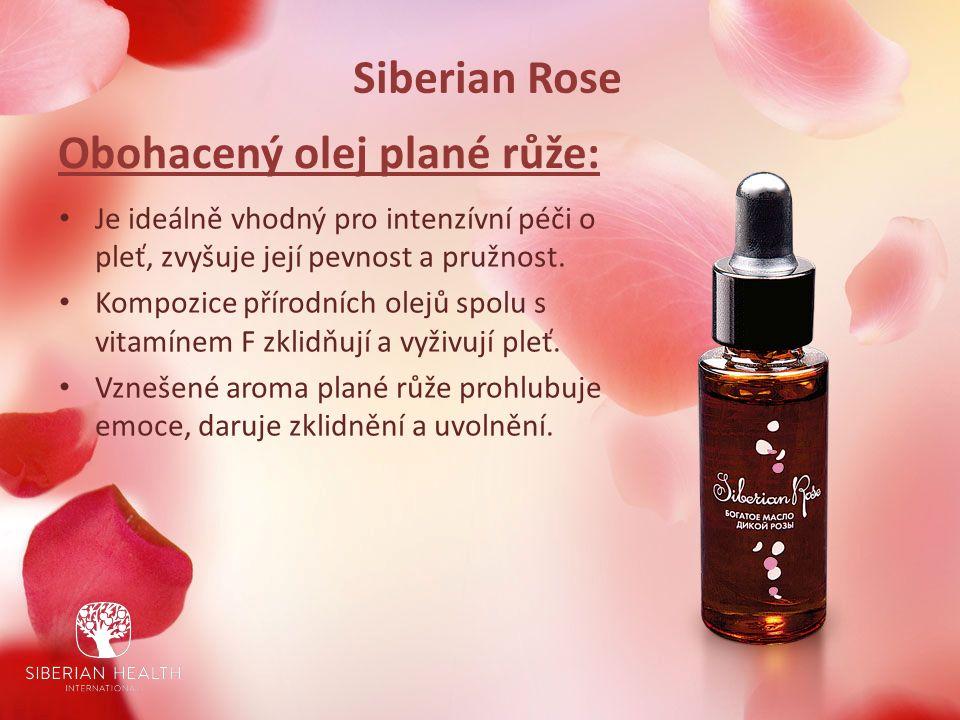Siberian Rose Obohacený olej plané růže: Je ideálně vhodný pro intenzívní péči o pleť, zvyšuje její pevnost a pružnost.