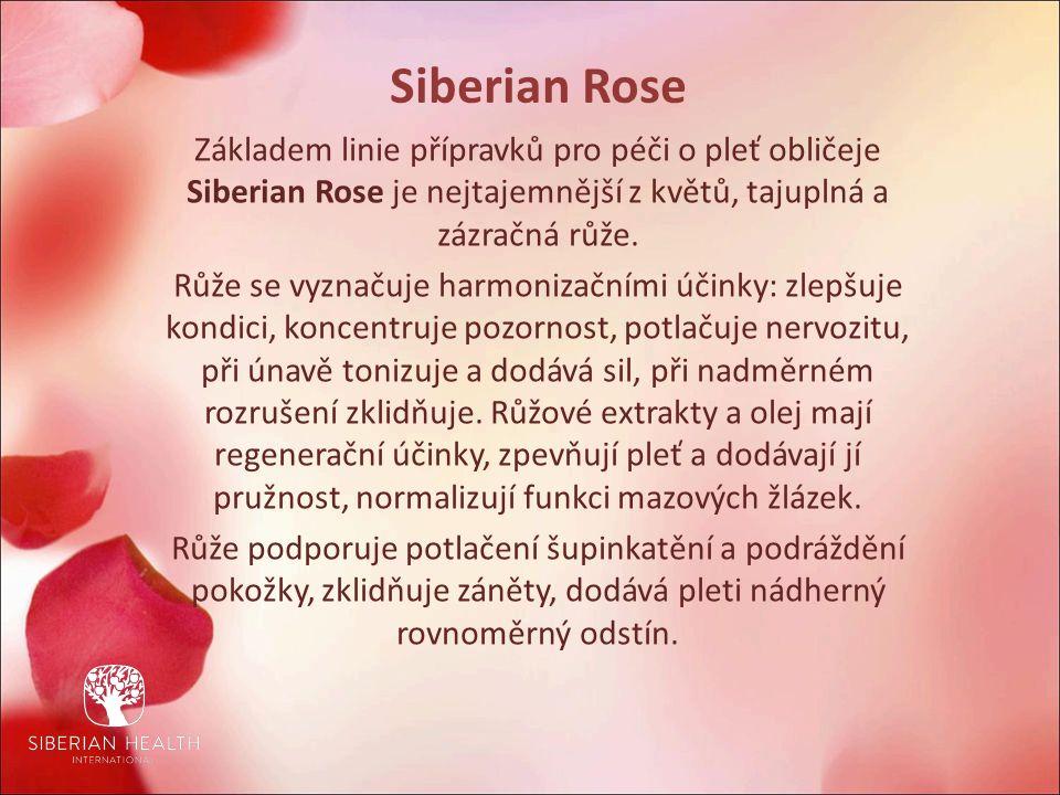 Siberian Rose Základem linie přípravků pro péči o pleť obličeje Siberian Rose je nejtajemnější z květů, tajuplná a zázračná růže.