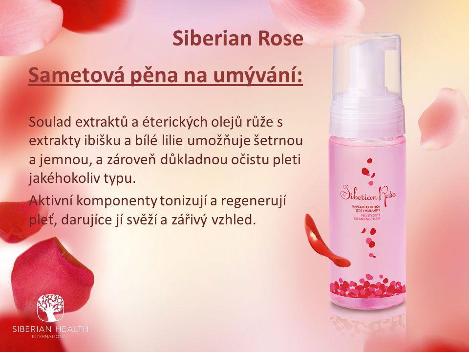 Siberian Rose Sametová pěna na umývání: Soulad extraktů a éterických olejů růže s extrakty ibišku a bílé lilie umožňuje šetrnou a jemnou, a zároveň důkladnou očistu pleti jakéhokoliv typu.