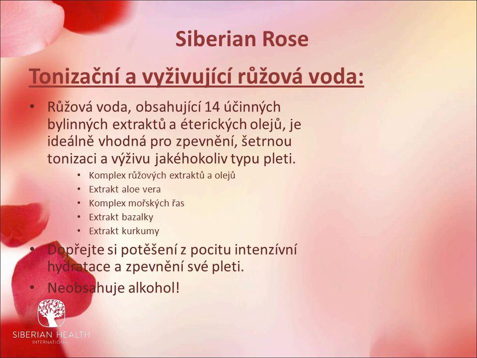 Siberian Rose Tonizační a vyživující růžová voda: Růžová voda, obsahující 14 účinných bylinných extraktů a éterických olejů, je ideálně vhodná pro zpevnění, šetrnou tonizaci a výživu jakéhokoliv typu pleti.