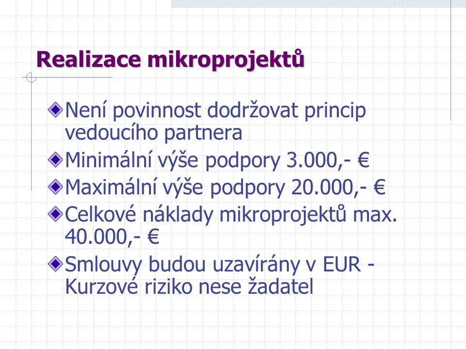 Realizace mikroprojektů Není povinnost dodržovat princip vedoucího partnera Minimální výše podpory 3.000,- € Maximální výše podpory 20.000,- € Celkové