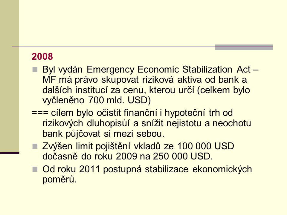2008 Byl vydán Emergency Economic Stabilization Act – MF má právo skupovat riziková aktiva od bank a dalších institucí za cenu, kterou určí (celkem bylo vyčleněno 700 mld.