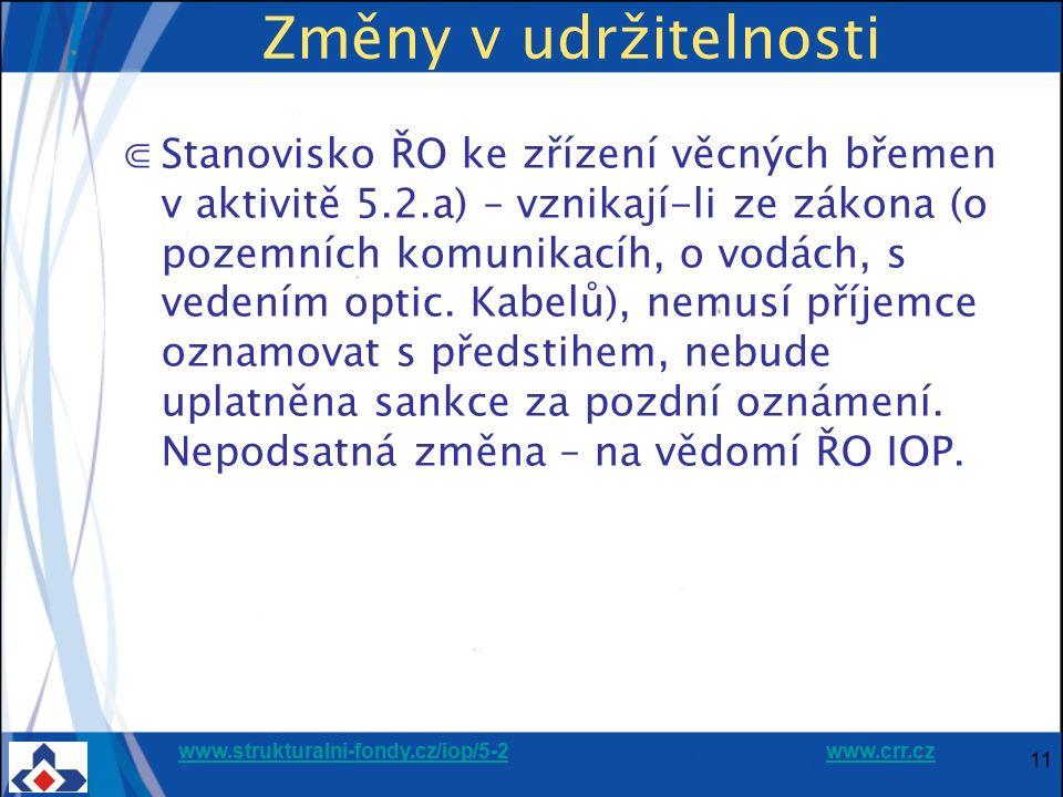 www.strukturalni-fondy.cz/iop/5-2www.strukturalni-fondy.cz/iop/5-2 www.crr.czwww.crr.cz 11 Změny v udržitelnosti ⋐Stanovisko ŘO ke zřízení věcných břemen v aktivitě 5.2.a) – vznikají-li ze zákona (o pozemních komunikacíh, o vodách, s vedením optic.