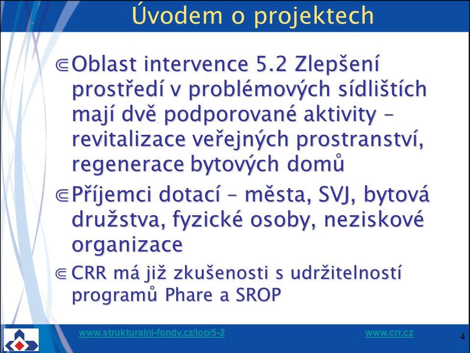 www.strukturalni-fondy.cz/iop/5-2www.strukturalni-fondy.cz/iop/5-2 www.crr.czwww.crr.cz 5 Úvodem o projektech ⋐Statistika: 1 404 projektů v udržitelnosti (vše od stavu P5), + 62 realizace ⋐První projekty již ukončily realizaci v r.